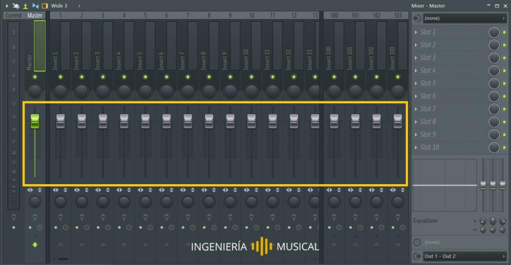faders mixer fl studio deslizadores ingenieria musical