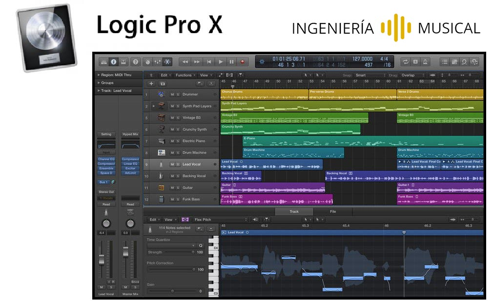 logic pro x interfaz ingenieria musical software de audio